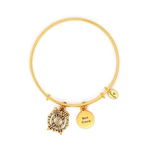 Best Friend Adjustable Charm Bangle Bracelet, Yellow Gold Plated