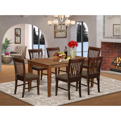 7-piece Dining Room Set - Dining Table 4 Chairs - Mahogany Finish