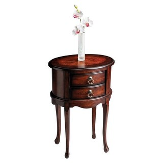 Offex Traditional Oval Side Table - Dark Brown