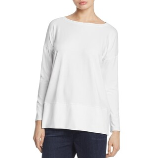 Eileen Fisher Womens Petites Casual Top Tunic Bateau Neck (Option: White - ps)