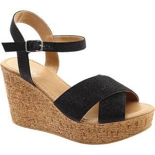 ae51c36037f5 Azura Women s Fiora Wedge Sandal Black Synthetic · Quick View
