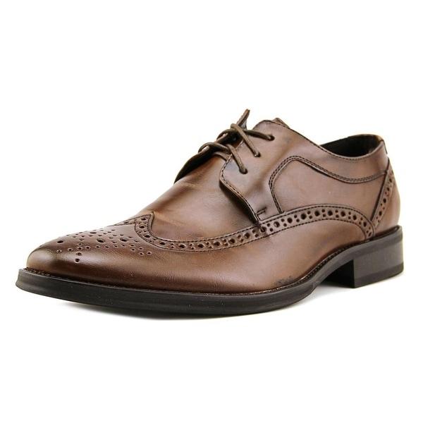 Black Brown Crayton Men Round Toe Leather Brown Oxford