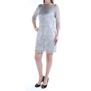 Womens Silver 3/4 Sleeve Mini Sheath Party Dress Size: 8
