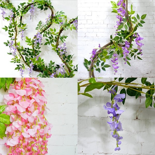 2M Artificial Silk Wisteria Fake Garden Hanging Flower Plant Vine Wedding Dcor