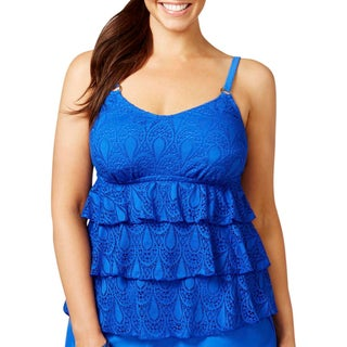 Island Escape Womens Plus Tiered Crochet Swim Top Separates - 18W