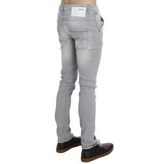 ACHT Gray Wash Denim Cotton Stretch Slim Fit Jeans - w34