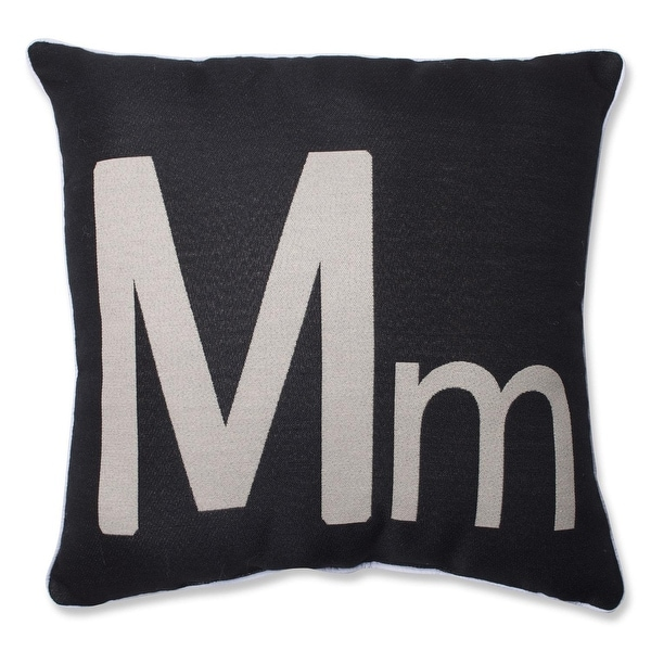 "18"" Black Novelty Initial 'M' Indoor Square Throw Pillow with Sewn Seam Closure"