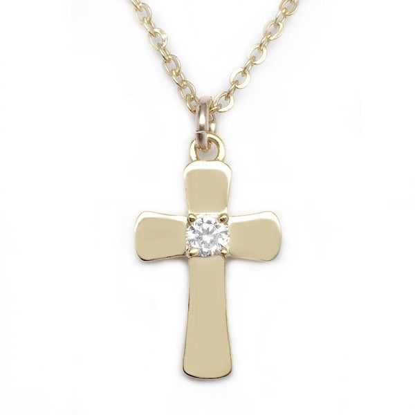 "Julieta Jewelry CZ Cross Gold Charm 16"" Necklace"