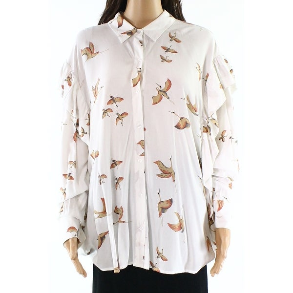 be64dda4 DR2 White Womens Size Medium M Printed Ruffle Button Down Blouse - Free  Shipping On Orders Over $45 - Overstock - 28067468