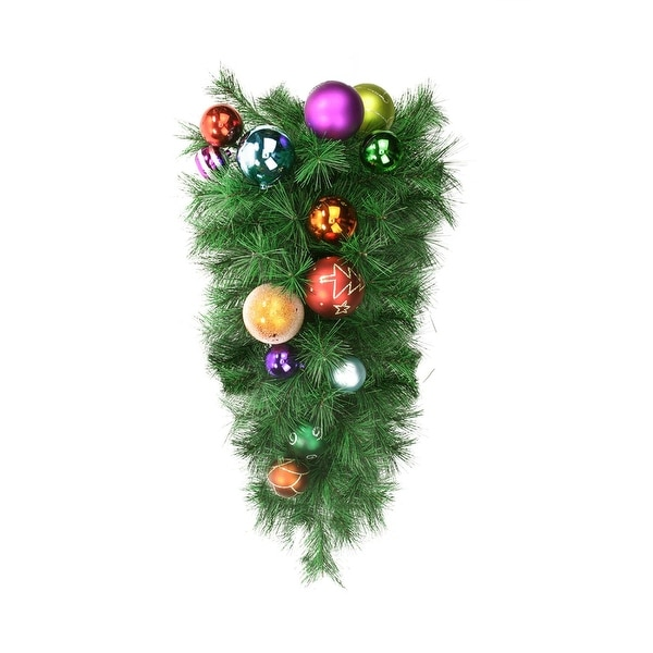 "24"" Pre-Decorated Multi-Color Ball Ornament Long Needle Pine Artificial Christmas Teardrop Swag - Unlit - multi"