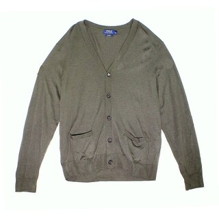 Polo Ralph Lauren NEW Green Olive Mens XL Cardigan Cashmere Sweater