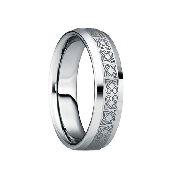 RUFINUS Celtic Knot Engraved Tungsten Wedding Ring with Polished Beveled Edges by Crown Ring - 6mm