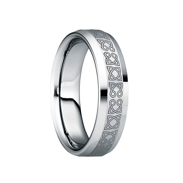 RUFINUS Celtic Knot Engraved Tungsten Wedding Ring with Polished Beveled Edges by Crown Ring
