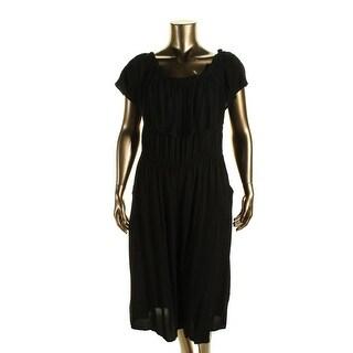 Soprano Womens Plus Cape Sleeves Capri Jumpsuit - 1X