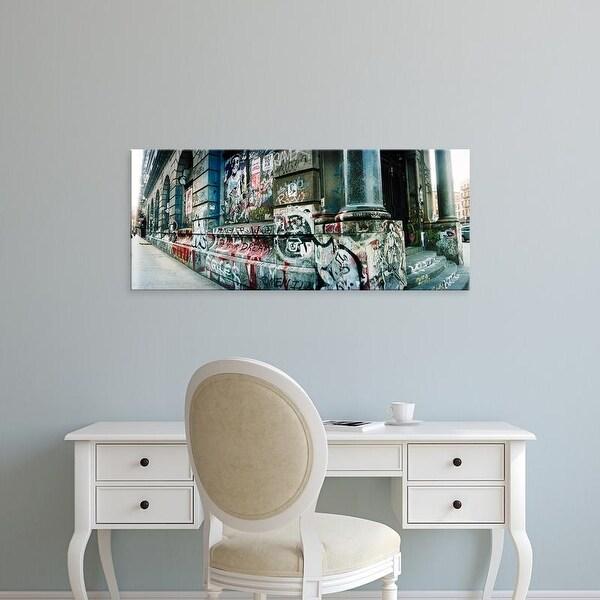 Easy Art Prints Panoramic Image 'Graffiti, Germania Bank, Bowery Street, Soho, Manhattan, New York City' Canvas Art