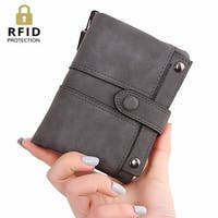 Womens Rfid Blocking Soft Leather Short Wallet With Wrist Strap Card Holder Change Organizer