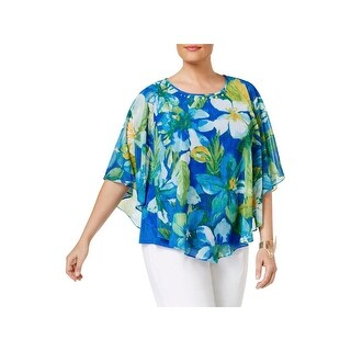 Alfred Dunner Womens Plus Poncho Top Floral Print Embellished