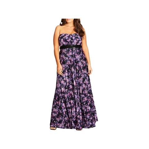 City Chic Womens Plus Helena Maxi Dress Satin Printed