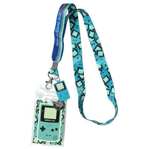 "Nintendo Gameboy Color Lanyard ID Holder With 2"" Metal Charm Pendant And Collectible Sticker"