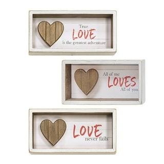 Slat Wood Heart Shadow Box Sign 3 Asst.