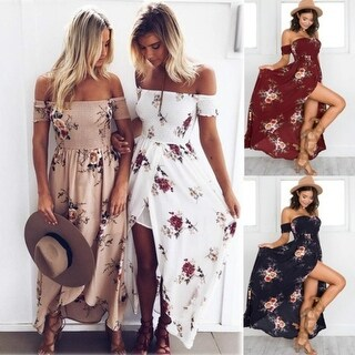Summer Women Long Beach Dress Boho Floral Print Sexy Split Off Shoulder Vintage Chiffon Dresses