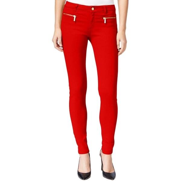MICHAEL Michael Kors Womens Skinny Jeans Twill Zipper Pockets