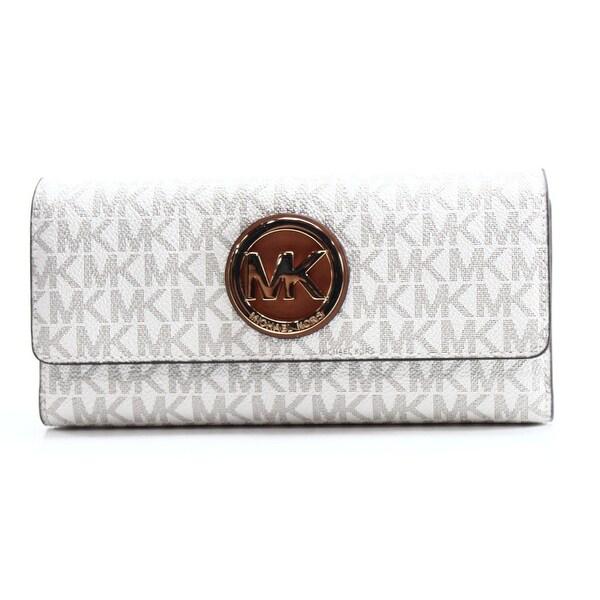 Michael Kors NEW Ivory Gold PVC Fulton Signature MK Envelope Wallet