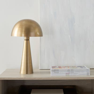 "Nourison 17"" Sleek Modern Iron Mushroom Table Lamp"