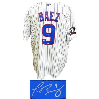 Javier Baez Chicago Cubs White Pinstripe 2016 World Series Patch Majestic Jersey
