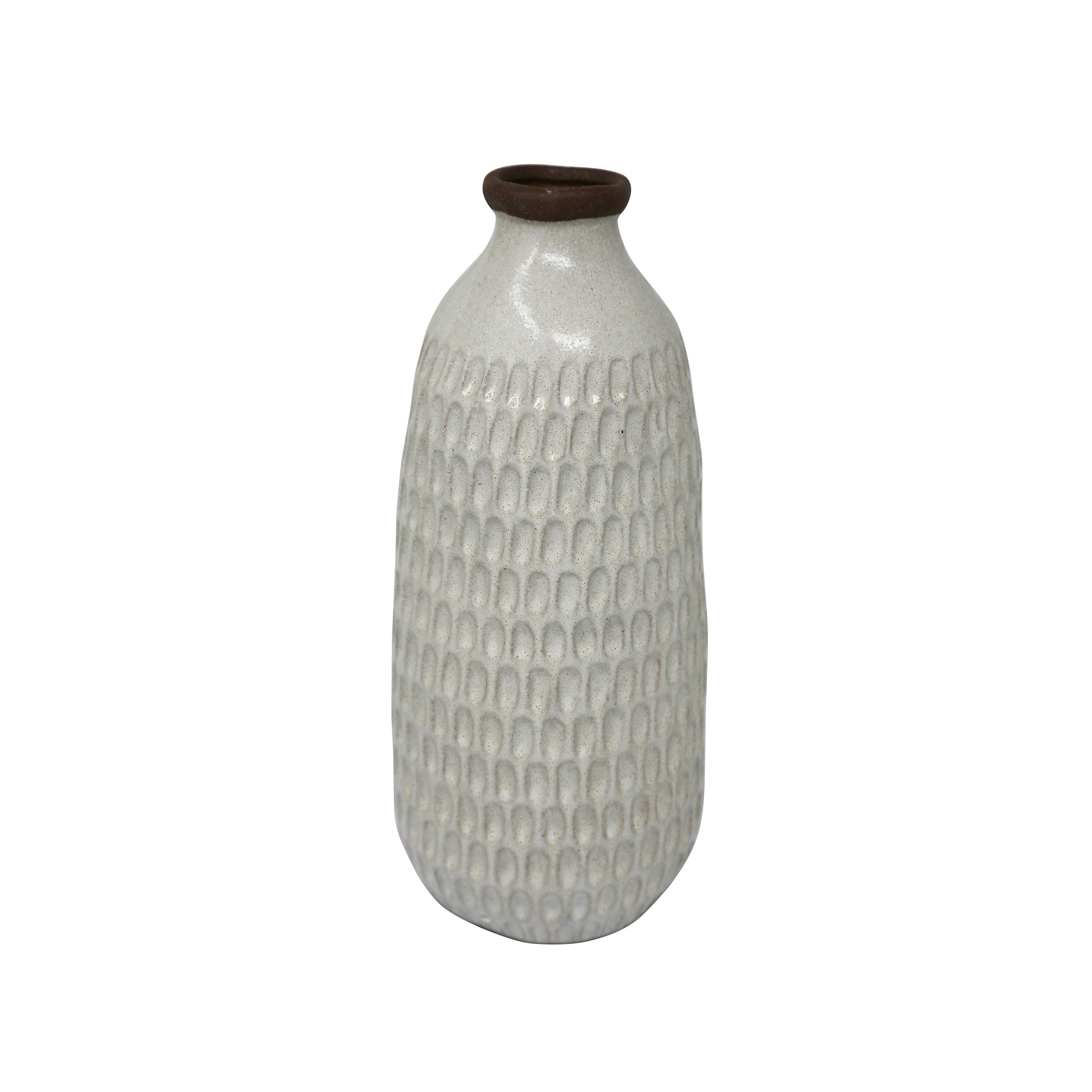 Ceramic Table Vase with Textured Surface, Medium, White and Brown