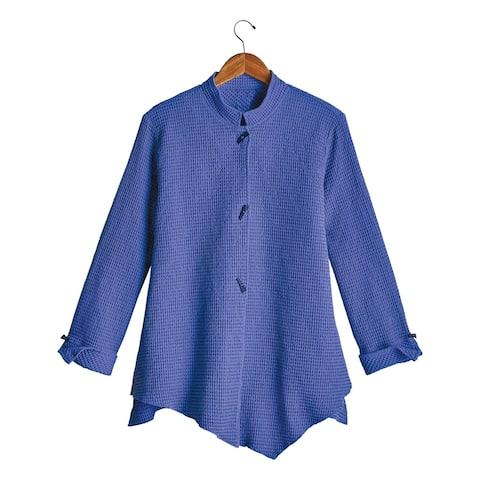 Focus Fashions Women's Mandarin Waffle Weave Jacket - Dusty Blue or Violet