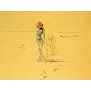 ''Female Figure with Head of Flowers'' by Salvador Dali Museum Art Print (11 x 14 in.)