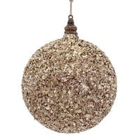 """6"""" Luxury Lodge Toffee Brown Sand Glittered and Beaded Christmas Ball Ornament"""