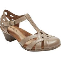 Rockport Women's Cobb Hill Aubrey T Strap Sandal Khaki Full Grain Burnished Leather