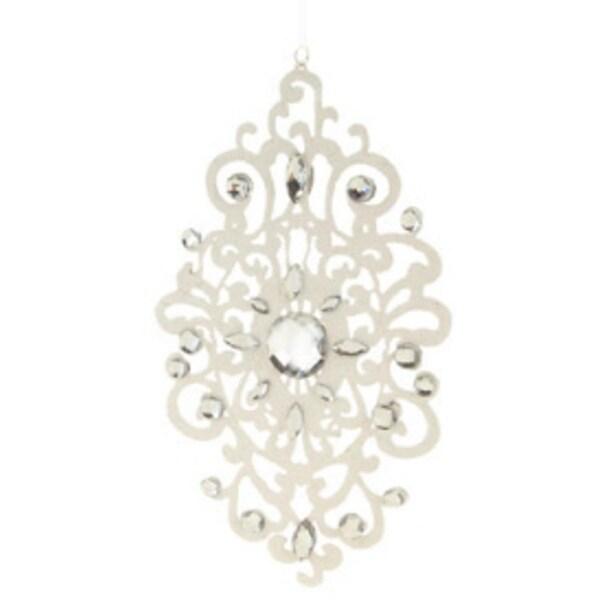"8.25"" Elegant Jeweled White Lace Doily Style Christmas Ornament"