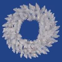 Pre-Lit Sparkle White Spruce Artificial Christmas Wreath - 36-Inch, Clear Lights