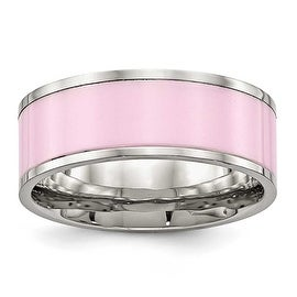 Stainless Steel Polished Pink Ceramic Ring (7.5 mm)