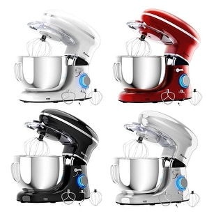 Costway 6.3Qt Tilt-Head Food Stand Mixer 6 Speed 660W w/Dough Hook, Whisk & Beater WhiteBlackRedSilver