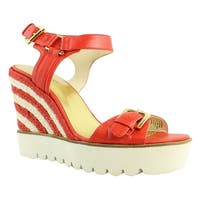 Nine West Womens Aprilshowerleather Red Ankle Strap Sandals Size 9.5