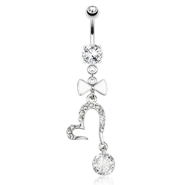 Open Heart with Large Gem and White Enamel Bow Tie Dangle 316L Surgical Steel Navel Belly Button Ring