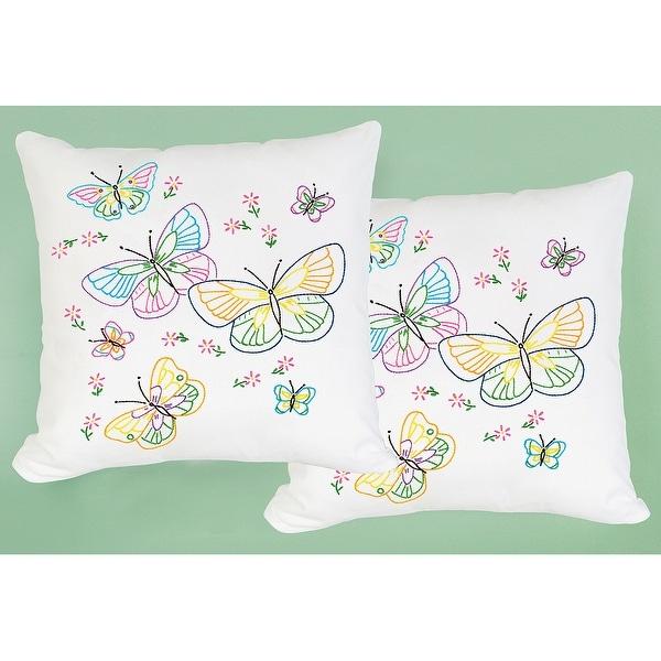 """Stamped White Pillowtops 15""""X15"""" 2/Pkg-Fluttering Butterflies"""