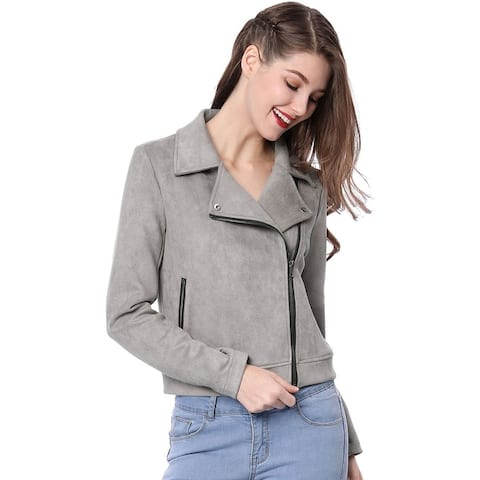 Unique Bargains Women Short Soft Zip Up Faux Suede Biker Moto Jacket