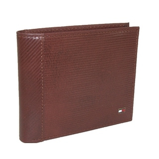 Tommy Hilfiger Men's Leather Pierce Textured Double Bilfold Wallet - Brown - One Size