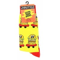 Burgers on Wheels Men's Crew Socks - Yellow