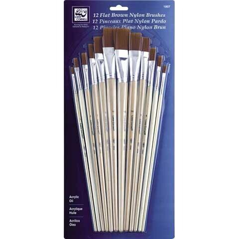 Loew-Cornell - Flat Brown Nylon Brush Set