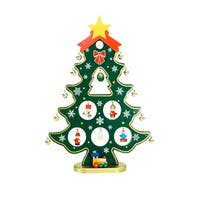 "11.25"" Wooden Christmas Tree Cut-Out with Miniature Ornaments Table Top Decoration - green"