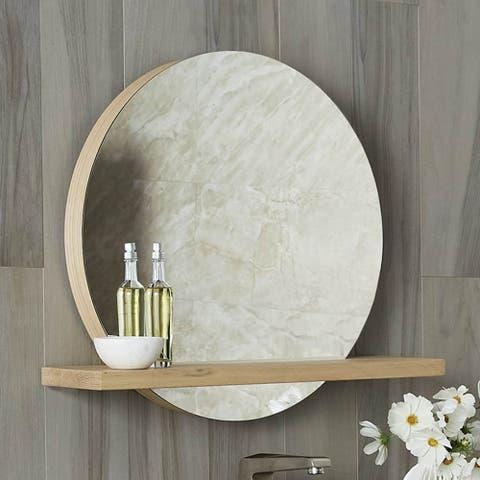 """Solace 28"""" Mirror and Shelf in Sunrise Oak"""