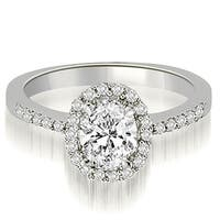 0.75 cttw. 14K White Gold Oval And Round Shape Halo Diamond Engagement Ring