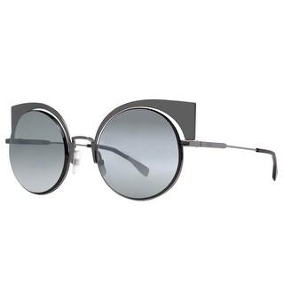 Fendi FF 0177/S KJ1/T4 Dark Ruthenium Mirrored Women's Round Cat Eye Sunglasses - dark ruthenium - 53mm-22mm-135mm