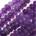 Dyed Jade Gemstone Beads, Faceted Rondelles 2x4mm, 15 Inch Strand, Purple - Thumbnail 0